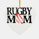 Mamá del rugbi - ornamento adorno navideño de cerámica en forma de corazón
