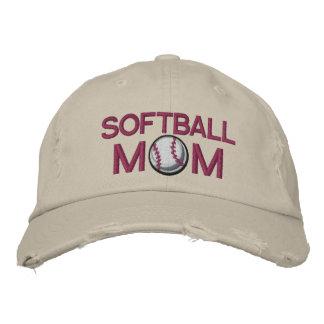Mamá del softball gorra de beisbol