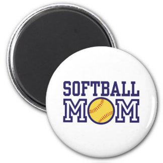 Mamá del softball imán redondo 5 cm