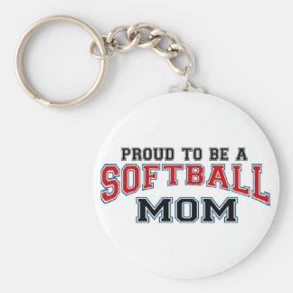 Mamá del softball llaveros