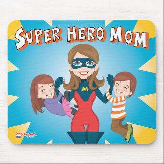 Mamá del superhéroe tapete de raton