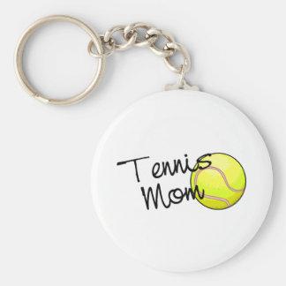 Mamá del tenis llavero redondo tipo pin