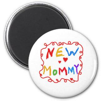 Mamá del texto de los colores primarios nueva imán redondo 5 cm