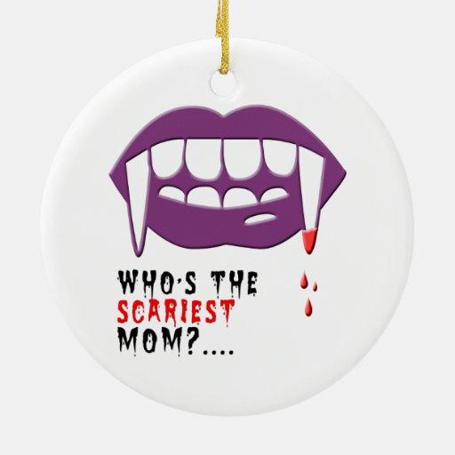 Mamá del vampiro adorno redondo de cerámica