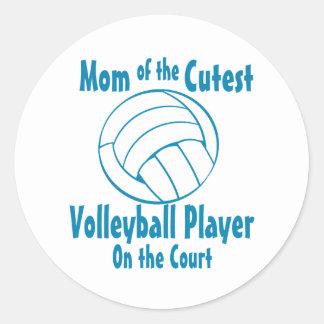 Mamá del voleibol pegatina redonda