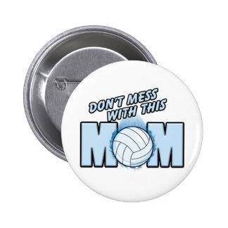 Mamá del voleibol pin redondo de 2 pulgadas