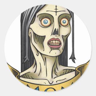 Mamá del zombi pegatina redonda