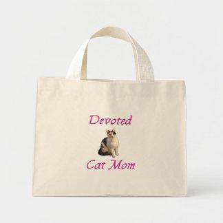 Mamá devota del gato bolsas de mano