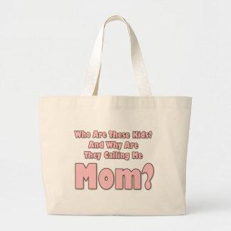 Mamá divertida bolsa tela grande
