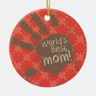 Mamá divertida, coral y remolino rojo ornamento de reyes magos