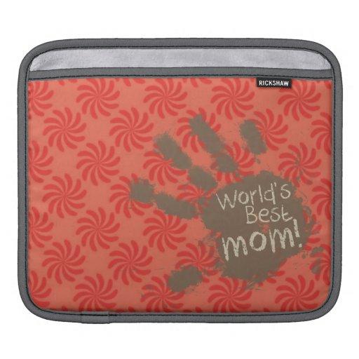 Mamá divertida, coral y remolino rojo mangas de iPad