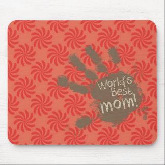 Mamá divertida, coral y remolino rojo tapetes de ratón