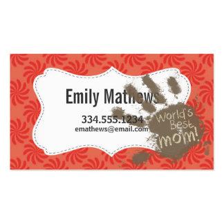 Mamá divertida, coral y remolino rojo tarjetas de visita