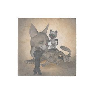Mamá divertida del gato del dibujo animado imán de piedra