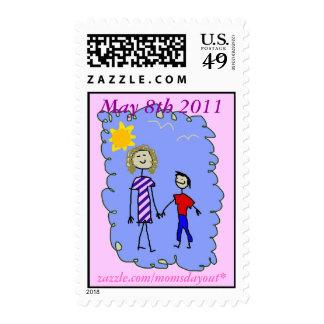 Mamá e hijo hacia fuera para un paseo sello