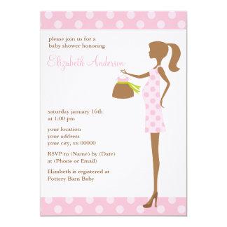 """Mamá elegante rosada a ser fiesta de bienvenida al invitación 5"""" x 7"""""""