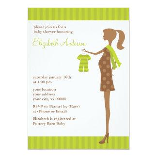 """Mamá elegante verde a ser fiesta de bienvenida al invitación 5"""" x 7"""""""
