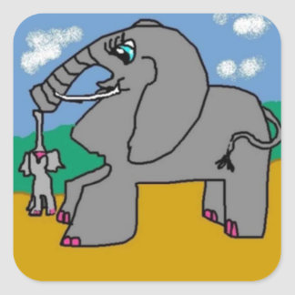 Mama Elephant And Her Baby Square Sticker