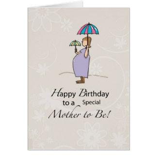 Mamá embarazada del cumpleaños felicitación