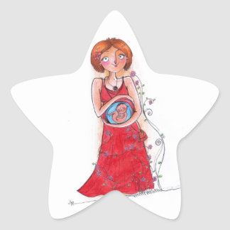mamá embarazada pegatina en forma de estrella