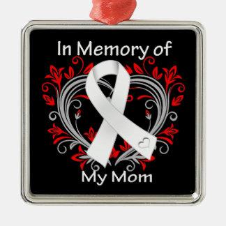 Mamá - en corazón del cáncer de pulmón de la adorno cuadrado plateado