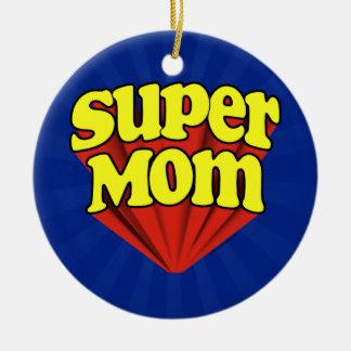 Mamá estupenda roja/amarillo/el día de madre azul adorno redondo de cerámica