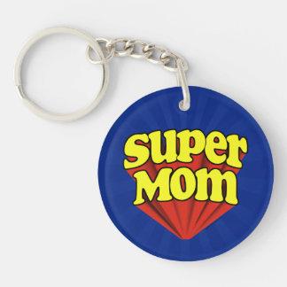 Mamá estupenda roja/amarillo/el día de madre azul llavero redondo acrílico a una cara