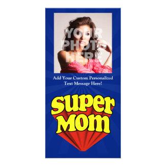 Mamá estupenda roja/amarillo/el día de madre azul tarjeta fotografica