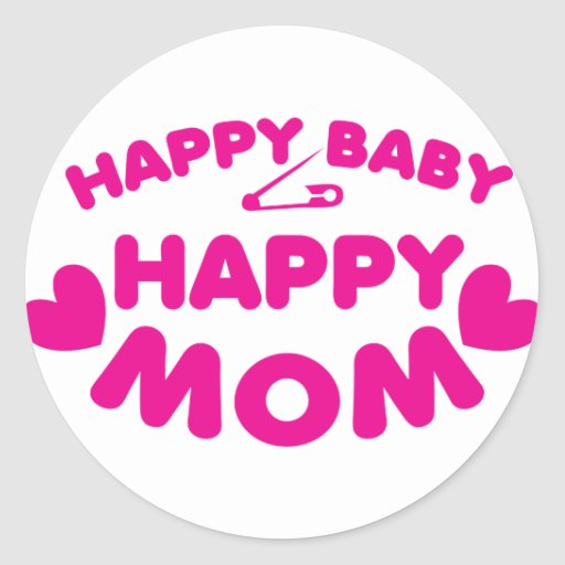 Mamá feliz del bebé feliz pegatina redonda
