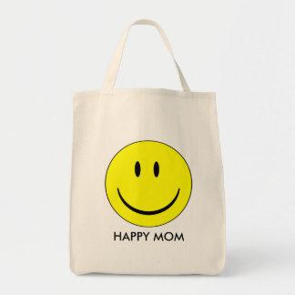 Mamá feliz - tote orgánico del ultramarinos bolsa de mano