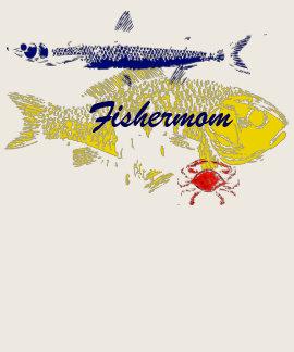 Mamá Fishermom de la pesca Camisetas