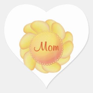 Mamá (flor amarilla) pegatinas corazon