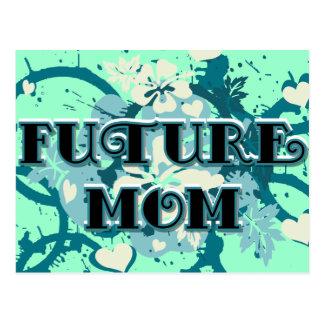 Mamá futura - corazones y flores postal