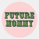 Mamá futura etiqueta redonda