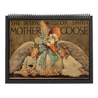 Mamá ganso de Jessie Willcox Smith Calendario De Pared