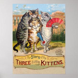 Mamá ganso de tres pequeña gatitos impresiones