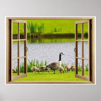 Mamá Goose de la ventana abierta Poster