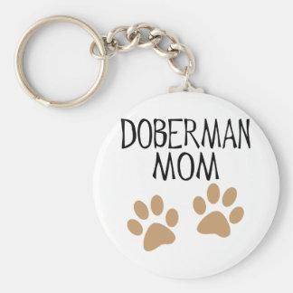 Mamá grande del Doberman de las patas Llavero Redondo Tipo Pin