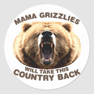 Mama Grizzlies Classic Round Sticker