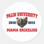 Mamá Grizzlies de la universidad de Palin Pegatina Redonda