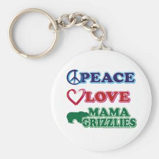 Mamá Grizzlies del amor de la paz de Sarah Palin Llavero Redondo Tipo Pin
