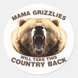Mamá Grizzlies Etiqueta Redonda