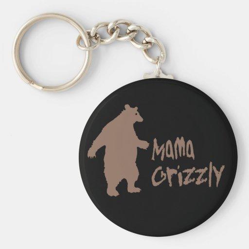 Mama Grizzly Basic Round Button Keychain