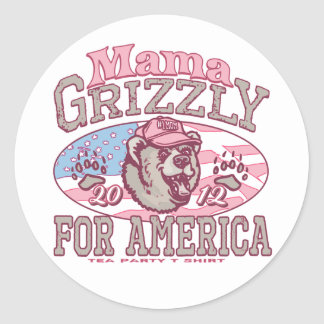 Mama Grizzly for America Classic Round Sticker
