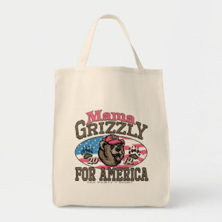 Mama Grizzly Gear for Patriotic Moms Grocery Tote Bag