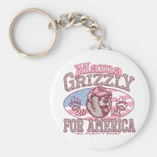 Mamá Grizzly Gear para las mamáes patrióticas Llavero Redondo Tipo Pin
