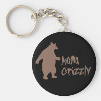 Mama Grizzly Basic Round Button Keychain