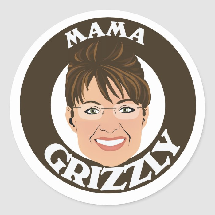 Mama Grizzly Sarah Palin Classic Round Sticker
