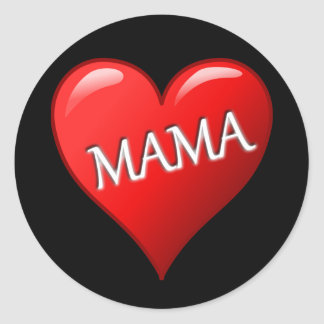 Mama Heart with Black Background Sticker