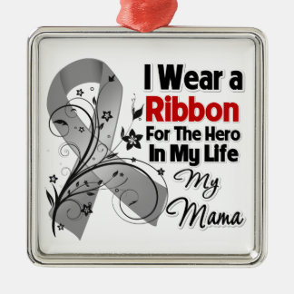 Mama Hero in My Life Brain Cancer Christmas Tree Ornaments